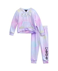 Little Girls 2 Piece Crew Long Sleeve and Jogger Pant