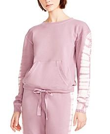 Juniors' Tie-Dyed Drawstring Hem Sweatshirt
