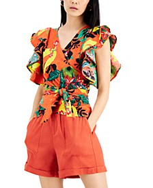 INC Floral-Print Cotton Wrap Top, Created for Macy's