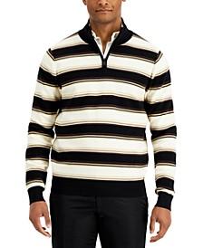 Men's Striped Quarter-Zip Sweater