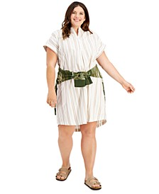 Plus Size Cotton Striped Camp Shirtdress, Created for Macy's