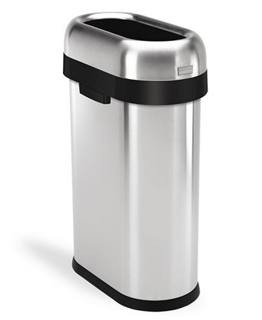 Simplehuman brushed stainless steel 50 liter slim open trash can kitchen gadgets kitchen - Slim garbage cans for kitchen ...