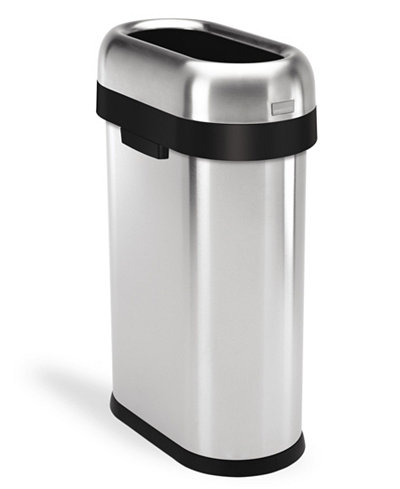 simplehuman Brushed Stainless Steel 50 Liter Slim Open Trash Can