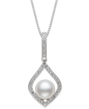 """Cultured Freshwater Pearl (7mm) & Cubic Zirconia 18"""" Pendant Necklace in Sterling Silver"""