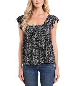 Cece Petite Ruffled Ditsy-print Blouse In Rich Black