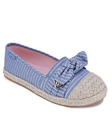 Little Girls Striped Chambray Knotted Espadrille Flats