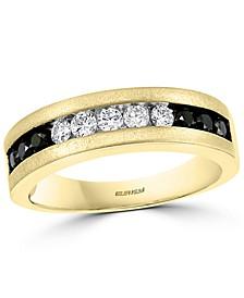 EFFY® Men's Black Diamond (3/8 ct. t.w.) & White Diamond (1/3 ct. t.w.) Band in 14k Gold