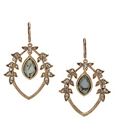 Gold-Tone Pavé Leaf & Stone Orbital Drop Earrings