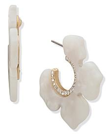 """Gold-Tone Medium Pavé & Mother-of-Pearl Flower Hoop Earrings, 1.22"""""""