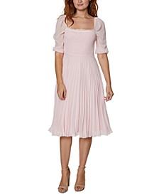 Smocked Pleated Chiffon Midi Dress