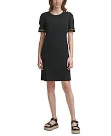 Solid Puff-Sleeve Sheath Dress