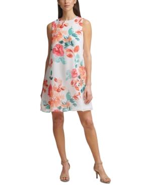 Floral-Print Sleeveless Chiffon Shift Dress