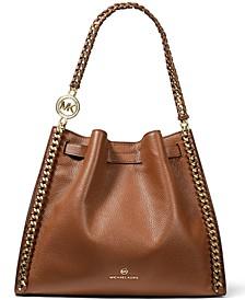 Mina Large Chain Leather Shoulder Bag