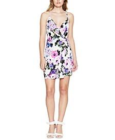 Twist-Front Floral-Print Mini Dress