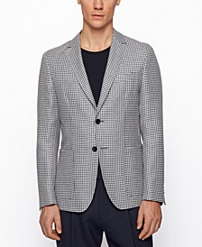 BOSS Men's Slim-Fit Jacket Houndstooth