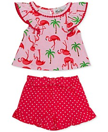 Baby Girls 2-Pc. Flamingo-Print Top & Shorts Set