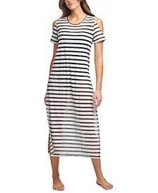 Striped Cold-Shoulder Cover-Up Dress