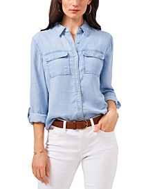 Denim Tab-Sleeve Blouse