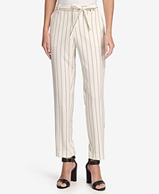 Petite Essex Tie-Waist Pinstriped Ankle Pants