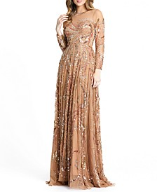 Embellished Mesh A-Line Gown