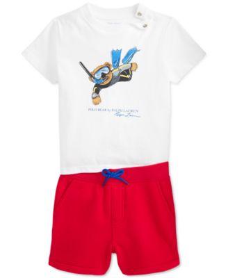 폴로 랄프로렌 Polo Ralph Lauren Baby Boys 2-Pc. Polo Bear T-Shirt & Fleece Shorts Set,White