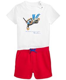 Baby Boys 2-Pc. Polo Bear T-Shirt & Fleece Shorts Set