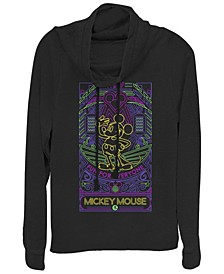 Juniors Disney Mickey Classic Neon Line Art Cowl Neck T-shirt