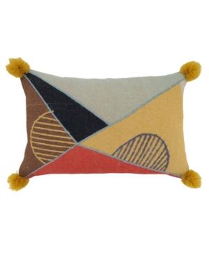 "Saro Lifestyle Pillows EMBROIDERED LUMBAR THROW PILLOW, 24"" X 16"""