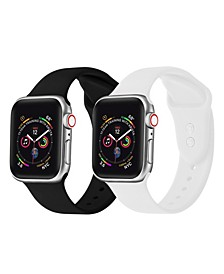Men's and Women's White Black 2 Piece Silicone Band for Apple Watch 38mm