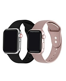 Men's and Women's Rose Gold Metallic 2 Piece Silicone Band for Apple Watch 38mm