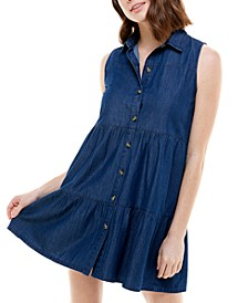 Juniors' Cotton Denim Tiered Dress