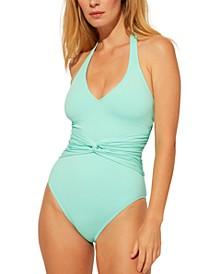 Plunge Halter-Style One-Piece Swimsuit