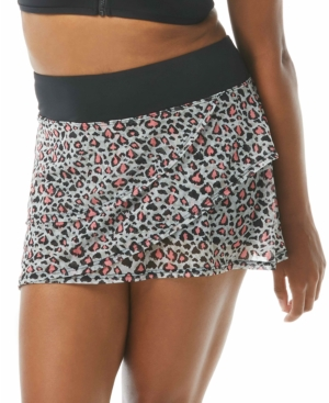Leopard-Print Mesh Swim Skort Women's Swimsuit