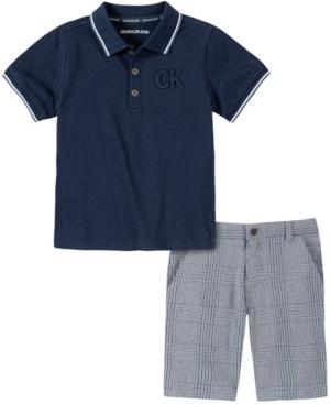 Calvin Klein LITTLE BOYS 2-PIECE SHORT SLEEVE POLO SHIRT AND PLAID SHORTS SET