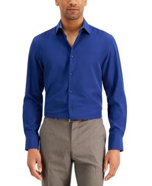 Men's Slim-Fit Solid Performance Stretch Cooling Comfort Dress Shirt