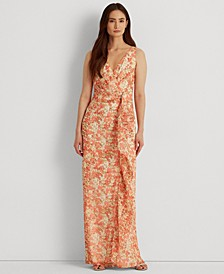 Floral Ruffle-Trim Georgette Gown
