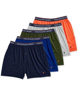 폴로 랄프로렌 Polo Ralph Lauren Mens 5-Pk. Classic-Fit Moisture-Wicking Knit Cotton Boxers,Navy/royal/green/grey/orange
