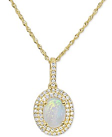 """Opal (3/4 ct. t.w.) & Diamond (1/5 ct. t.w.) Oval Halo 18"""" Pendant Necklace in 14k Gold"""