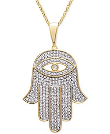 """Men's Diamond Hamsa Hand 22"""" Pendant Necklace (1/4 ct. t.w.) in 14k Gold-Plated Sterling Silver or Sterling Silver"""