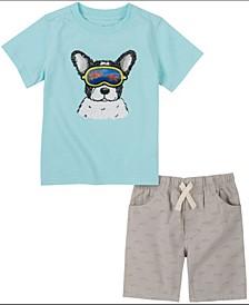 Little Boys Short Sleeve Hologram T-Shirt and Printed Shorts, Set of 2