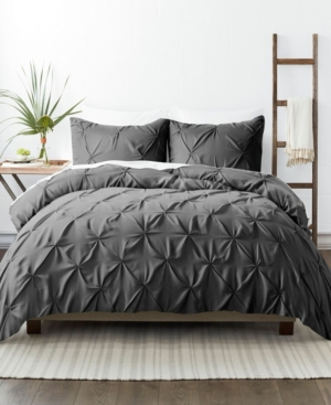 Ienjoy Home Home Collection Premium Ultra Soft 2 Piece Pinch Pleat Duvet Cover Set, Twin/twin Extra Long Bedding In Gray