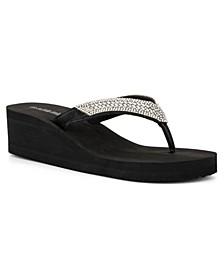 Women's Villa Gesell Rhinestone Flip Flop Wedge Sandals