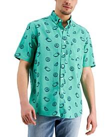 Men's Lemon Sketch Linen-Blend Short Sleeve Shirt, Created for Macy's