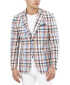 Men's Slim-Fit Multicolor Plaid Linen Blazer