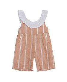 Toddler Girls Linen Stripe Romper