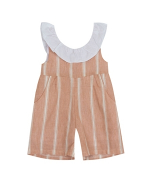 Rare Editions Climbing clotheses LITTLE GIRLS LINEN STRIPE ROMPER