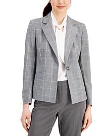 Petite Plaid Single-Button Blazer