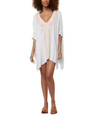 O'neill Juniors' Morgan Embroidered Cover-up Women's Swimsuit In White