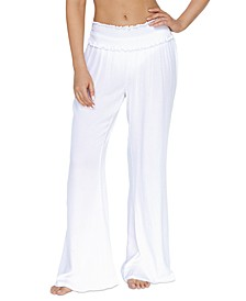 Juniors' Solid Smocked Cover-Up Beach Pants