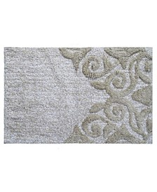 "Damask Pattern Bathroom Rug, 32"" L x 20"" W"